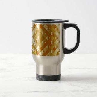 Artistic gold grid 15 oz stainless steel travel mug