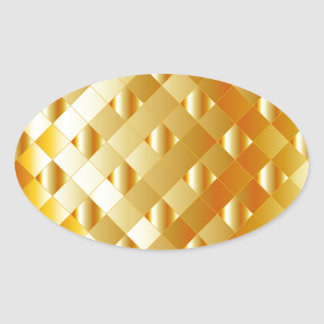 Artistic gold grid oval sticker