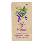 Artistic Grapes Vineyard Wedding Wine Bottle Label Personalized Shipping Label