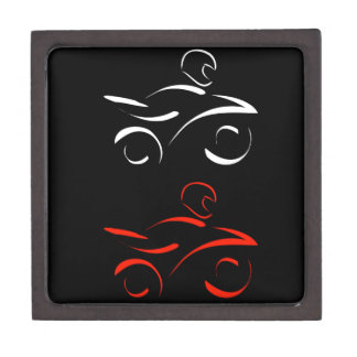 Artistic graphic of motorbike jewelry box