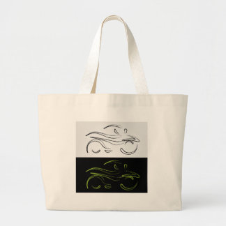 Artistic graphic of motorbike large tote bag