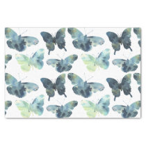 Artistic Green blue watercolor butterflies pattern Tissue Paper