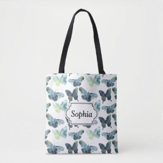 Artistic Green blue watercolor butterflies pattern Tote Bag