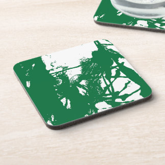 Artistic green ink texture beverage coaster