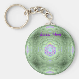 Artistic Green Soccer Mom Hexagon Pattern Keychain