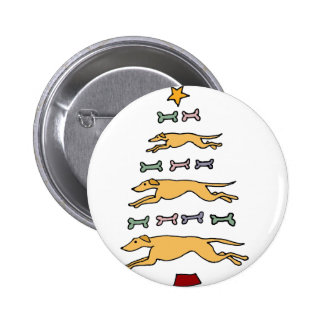 Artistic Greyhound Dog and Bones Christmas Tree 2 Inch Round Button