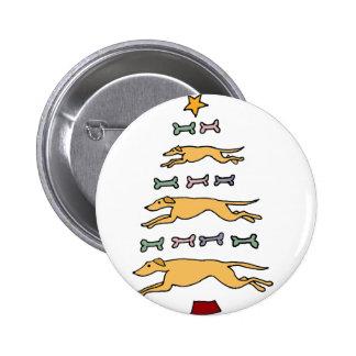 Artistic Greyhound Dog and Bones Christmas Tree Pinback Button