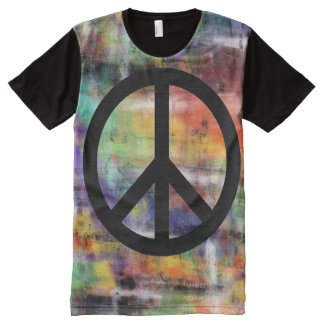 Artistic Grunge Peace Sign All-Over-Print T-Shirt