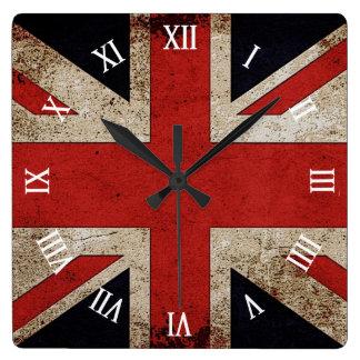 Artistic Grunge UK flag Square Wall Clock