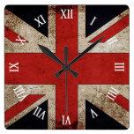 Artistic Grunge UK flag Square Wallclock