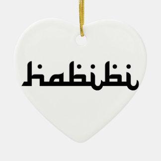 Artistic Habibi Double-Sided Heart Ceramic Christmas Ornament