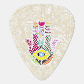 Artistic Hand Drawn Hamsa Hand an Floral Drawings Guitar Pick