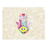 Artistic Hand Drawn Hamsa Hand an Floral Drawings Postcard