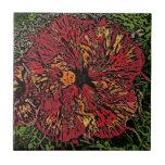 Artistic hibiscus flower decorative ceramic tile