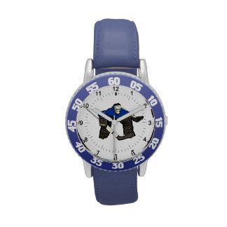 Artistic hockey goalie kid's blue wrist watch