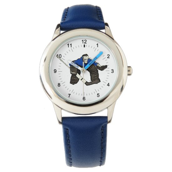 Artistic hockey goalie kid's blue wrist watch