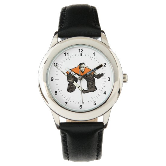 Artistic hockey goalie kid's wrist watch