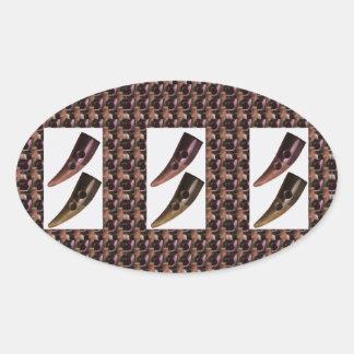 Artistic HORN Craft Tie BUTTONS Oval Sticker