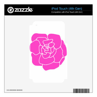 Artistic Hot Pink Rose Decals For iPod Touch 4G