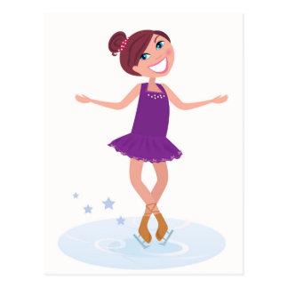 Artistic Ice Skating girl Purple edition Postcard