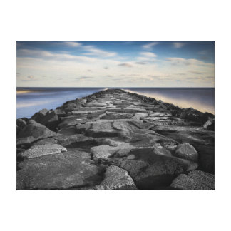 Artistic Jetty and Silky Ocean in New Jersey Canvas Print