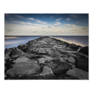 Artistic Jetty and Silky Ocean in New Jersey Photo Print