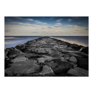 Artistic Jetty and Silky Ocean in New Jersey Poster