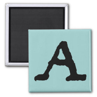 """Artistic Letter """"A"""" Woodcut Woodblock Initial 2 Inch Square Magnet"""