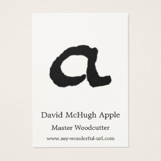 "Artistic Letter ""A"" Woodcut Woodblock Initial Business Card"