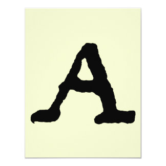 "Artistic Letter ""A"" Woodcut Woodblock Initial Card"