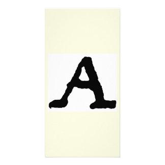 "Artistic Letter ""A"" Woodcut Woodblock Initial Custom Photo Card"