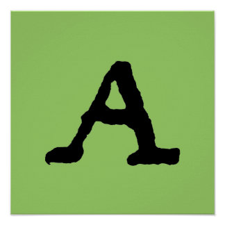 """Artistic Letter """"A"""" Woodcut Woodblock Initial Poster"""