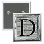 """Artistic Letter """"D"""" Woodcut Woodblock Initial 2 Inch Square Button"""