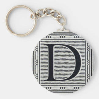 "Artistic Letter ""D"" Woodcut Woodblock Initial Basic Round Button Keychain"