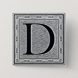 "Artistic Letter ""D"" Woodcut Woodblock Initial Button"