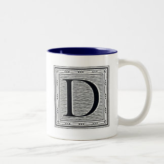 "Artistic Letter ""D"" Woodcut Woodblock Initial Two-Tone Coffee Mug"