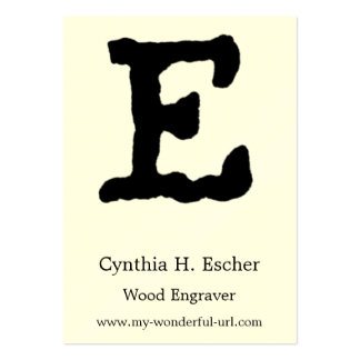 "Artistic Letter ""E"" Hand Lettered Style Initial Large Business Cards (Pack Of 100)"
