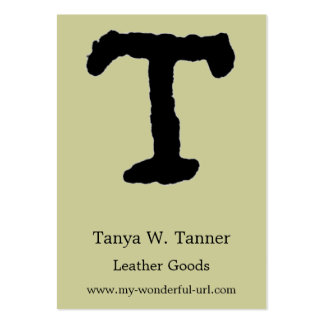 "Artistic Letter ""T"" Hand Lettered Style Initial Business Cards"