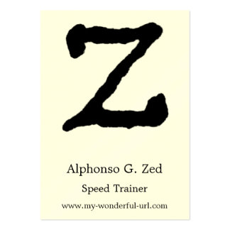 "Artistic Letter ""Z"" Hand Lettered Style Initial Business Card Template"