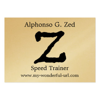 """Artistic Letter """"Z"""" Hand Lettered Style Initial Large Business Card"""