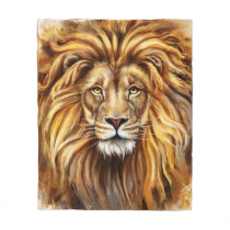 Artistic Lion Face Fleece Blanket