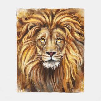 Artistic Lion Face Fleece Blanket