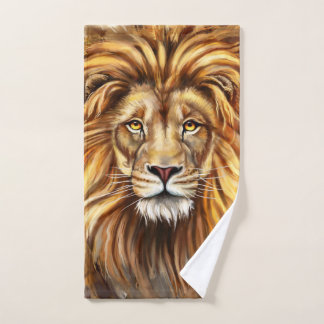 Artistic Lion Face Hand Towel