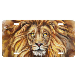 Artistic Lion Face License Plate