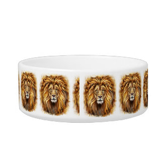 Artistic Lion Face Medium Pet Bowl