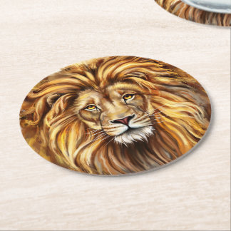 Artistic Lion Face Round Paper Coaster