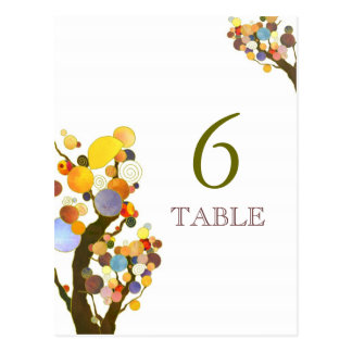 Artistic Love Trees White Wedding Table Number Postcard