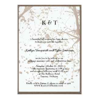 Artistic Maple Tree Vintage Retro Fall Wedding Personalized Invites