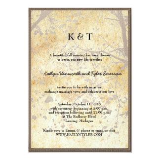 Artistic Maple Tree Vintage Retro Fall Wedding 5x7 Paper Invitation Card