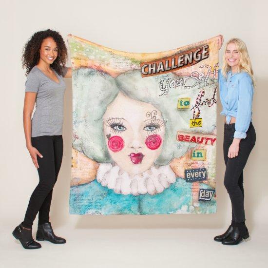 Artistic Mint Blue Hair Clown Girl Collage Art Fun Fleece Blanket